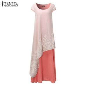Zanzea Dress Pink Ivory Boho Chic Embroidered Maxi
